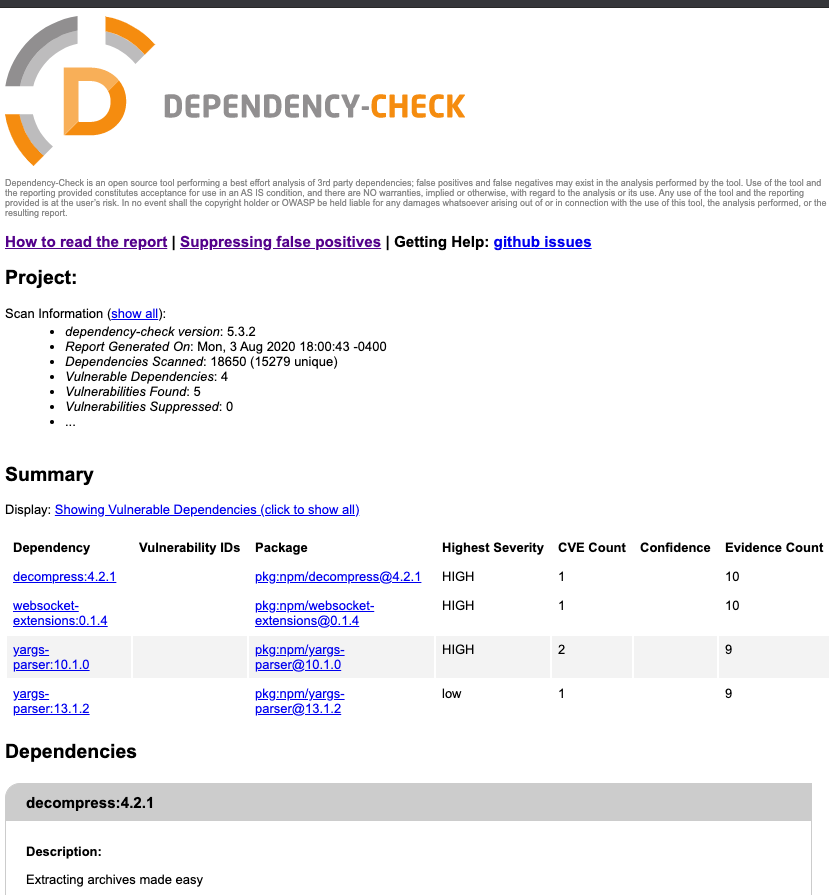 dependency-check scan results as HTML