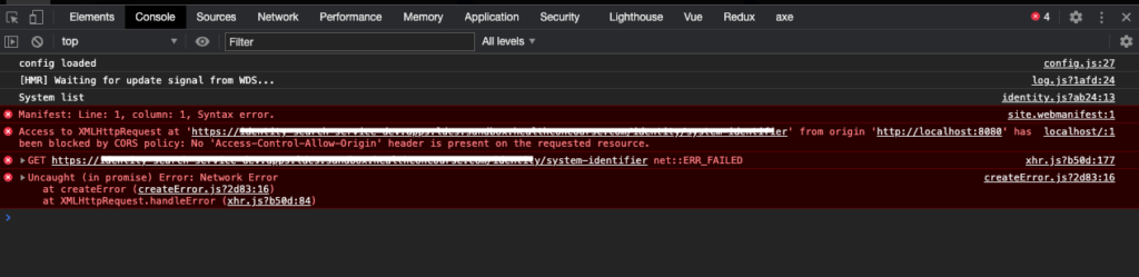 The Chrome developer tools show only a CORS error in the console