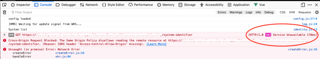 The FireFox developer tools show both the 503 HTTP error code and the CORS error in the console