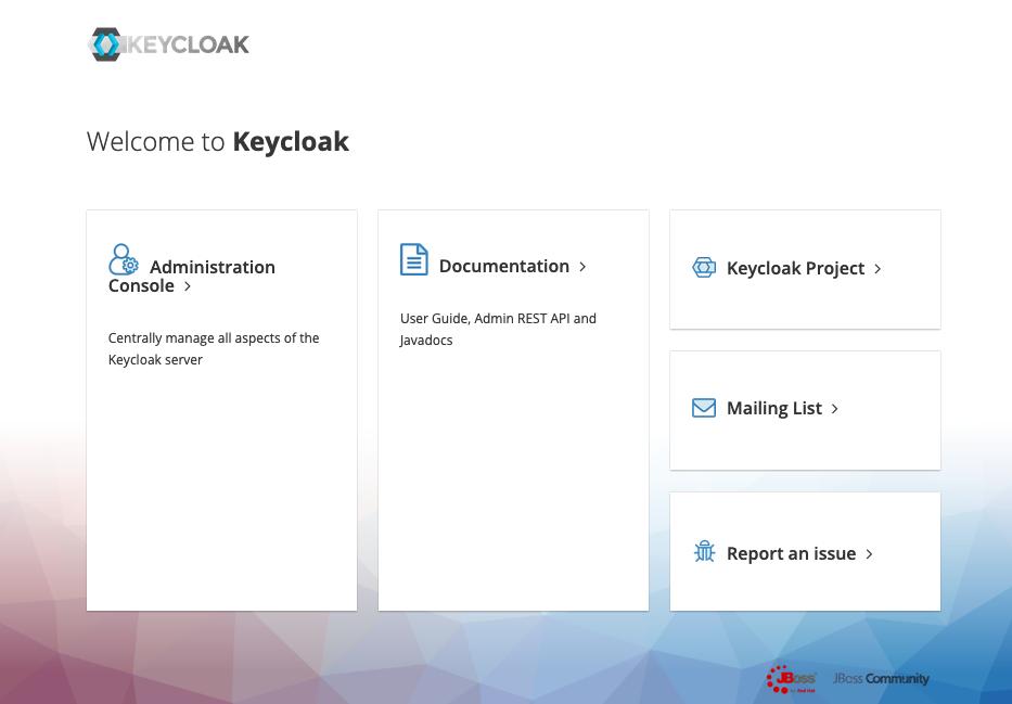 Keycloak starting web page